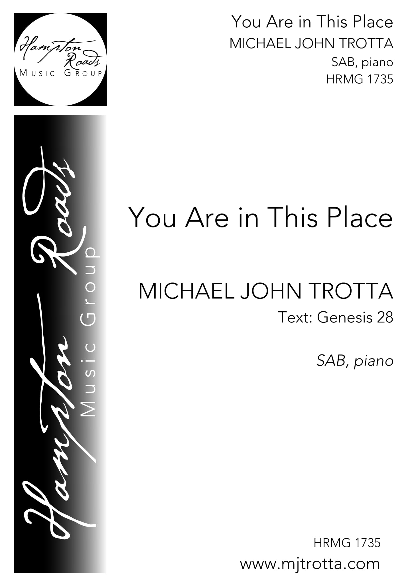 You Are In This Place - SAB - Michael John Trotta