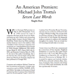 An American Premiere - Seven Last Words - Choral Scholar Article - By Vaughn Roste